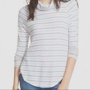 Free People Dusty blue/ivory relaxed turtleneck